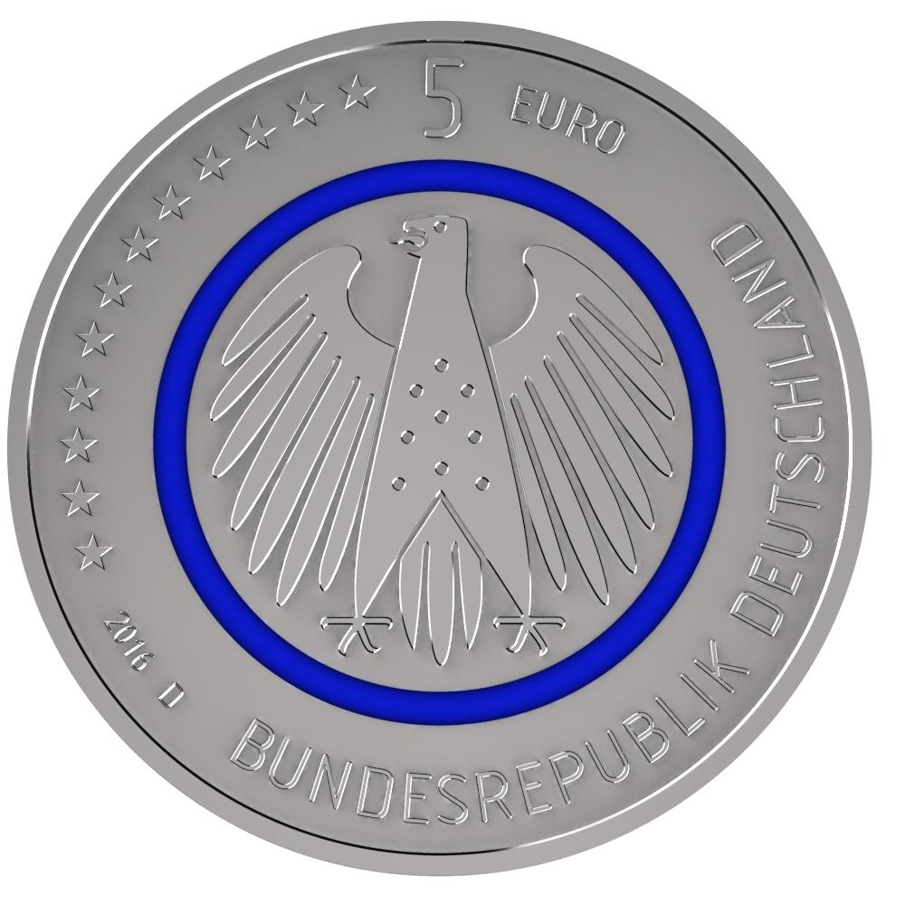 Deutschland 5 Euro Sammlermünze Planet Erde Münze Mit Blauem Ring