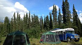 Camping mit Zelt und Bus in Kanada